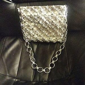 Silver chain maille purse